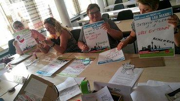 Die ver.di Vertrauensleute vom Helios Klinikum Duisburg beteiligen sich an der Mogelpackung-Aktion.