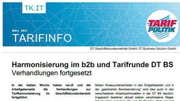 Tarifinfo DT BS - Harmonisierung im b2b und Tarifrunde DT BS Verhandlungen fortgesetzt - Teaser
